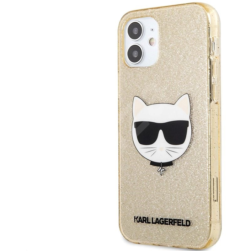 Karl Lagerfeld Choupette Head Glitter Kryt na Apple iPhone 12 mini Gold - Kryt na mobil