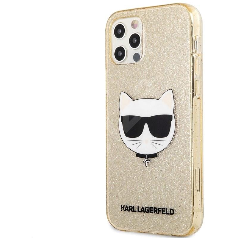 Karl Lagerfeld Choupette Head Glitter Kryt na Apple iPhone 12 Pro Max Gold - Kryt na mobil