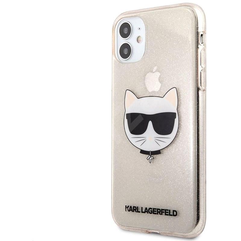 Karl Lagerfeld Choupette Head Glitter Kryt na Apple iPhone 11 Gold - Kryt na mobil