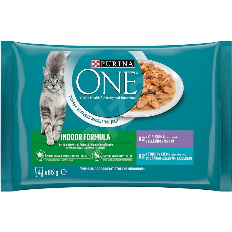 Purina ONE Indoor minifiletky s tuniakom a zelenými fazuľkami, s teľacím a mrkvou 4 × 85 g - Kapsička pre mačky