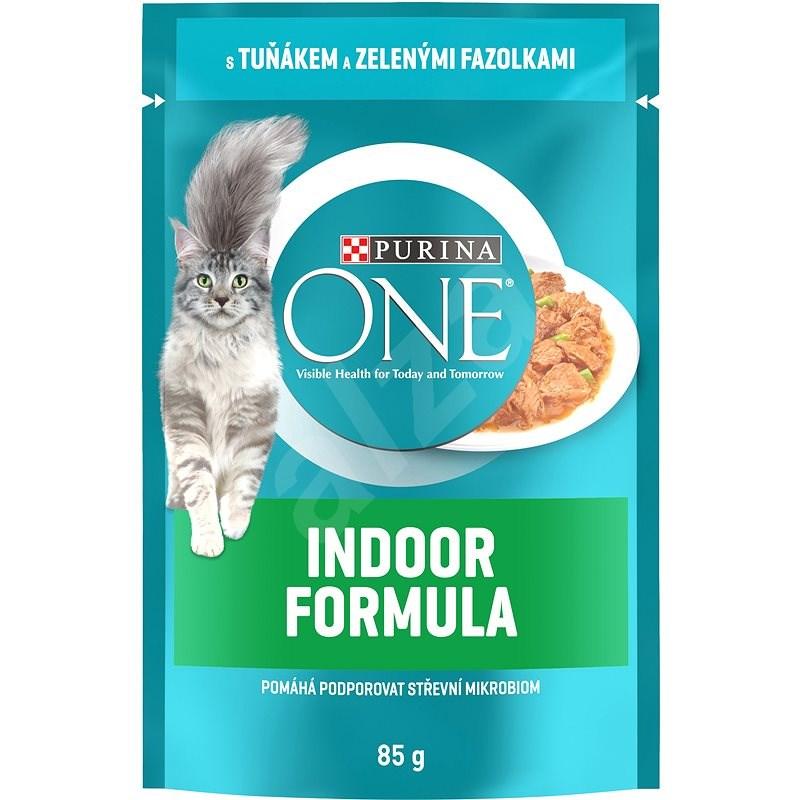 Purina ONE Indoor mini filetky s tuniakom a zelenými fazuľkami v šťavě 85 g - Kapsička pre mačky