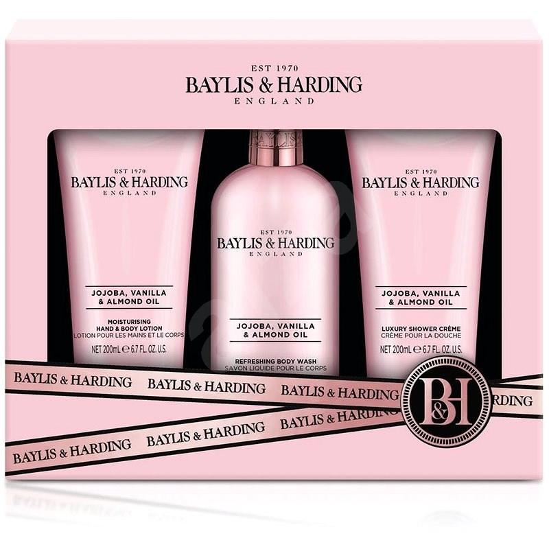 BAYLIS & HARDING Sada starostlivosti o telo – Jojoba, Vanilla & Almond oil 3× 200 ml - Darčeková kozmetická súprava