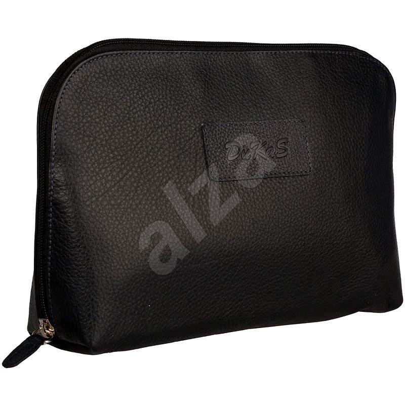 DuKaS Pánska kožená toaletná taška Tmavo modrá - Kozmetická taška