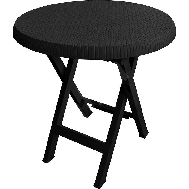 MEGAPLAST Teo skladací O 70 cm, antracit - Záhradný stôl