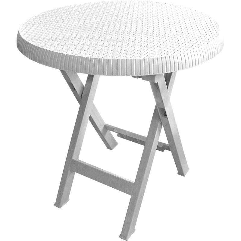 MEGAPLAST Teo skladací O 70 cm, biely - Záhradný stôl