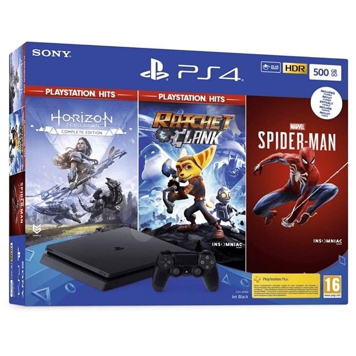 PlayStation 4 Slim 500 GB + 3 hry (Spiderman, Horizon Zero Dawn, Ratchet and Clank) - Herná konzola