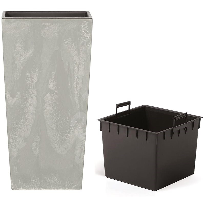 Prosperplast URBI SQUARE BETON EFFECT s vkladom sivý 26,5 cm - Kvetináč