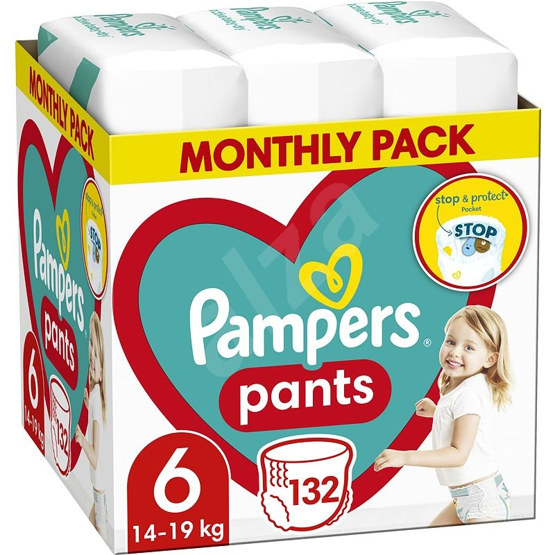 PAMPERS Pants vel. 6 (132 ks) - měsíční zásoba - Plienkové nohavičky