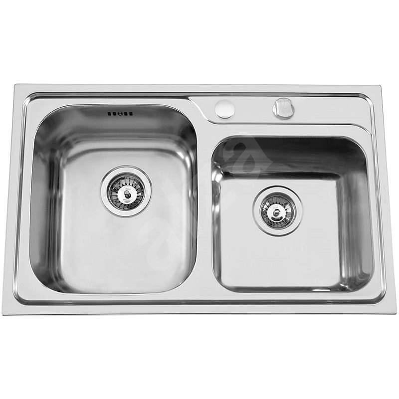 Sinks ALFA 800 DUO V 0,7 mm ľavý leštený - Nerezový drez