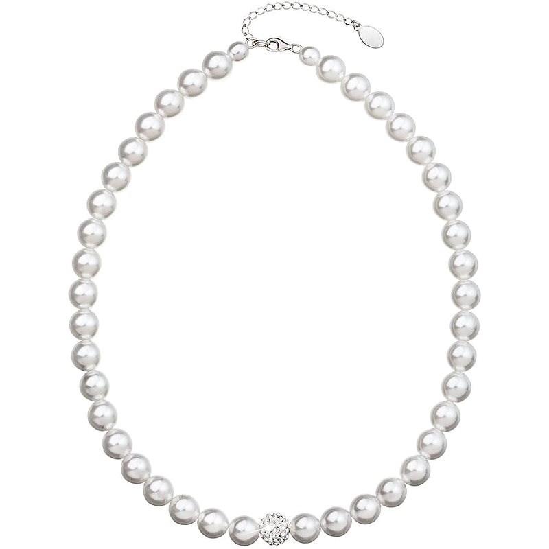 EVOLUTION GROUP Perlový, zdobený kryštálmi Preciosa® 32011.1 (Ag 925/1000, 61,7 g, biely) - Náhrdelník