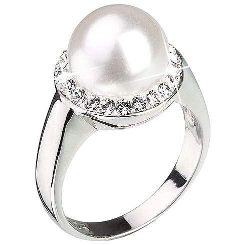 Prsteň zdobený kryštálmi Swarovski Biela perla 35021.1 (925/1000; 5,7 g) veľ. 54 - Prsteň