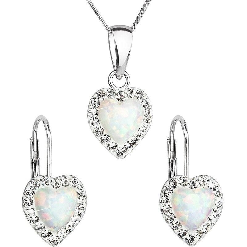 EVOLUTION GROUP 39161.1 biely synt. opál súprava dekorovaná kryštálmi Preciosa® (925/1000, 2 g) - Darčeková sada šperkov