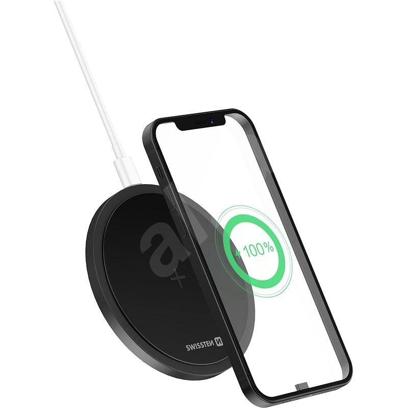 Swissten Wireless 15 W čierna - Bezdrôtová nabíjačka
