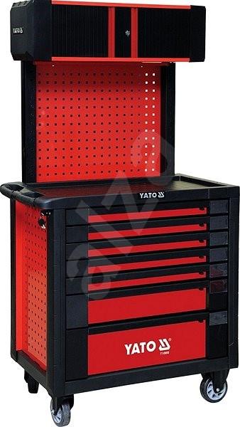 db0ca52b6b947 YATO Skrinka dielenská pojazdná 7 zásuviek + pevný chrbát s vrchnou skrinkou,  červená - Vozík