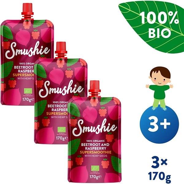 SALVEST Smushie BIO Ovocné smoothie s červenou repou, malinami a konopnými semienkami 3× 170 g - Príkrm