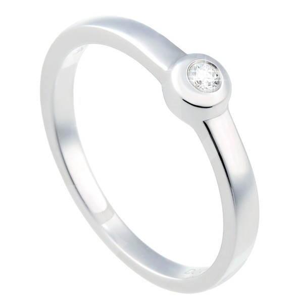 Diamantový prsten z bílého zlata - 1 diamant 0.04ct  -