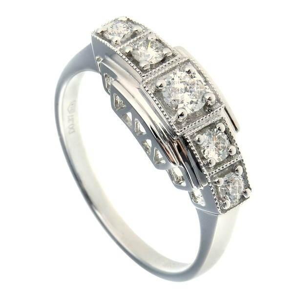 Diamantový prsten z bílého zlata - 5 diamantů 0.37ct -