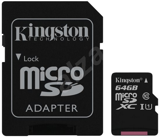 Kingston MicroSDXC 64GB UHS-I U1 + SD adaptér - Pamäťová karta