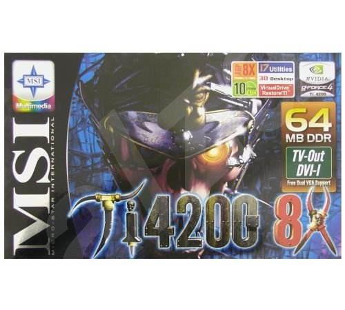 MSI MS-8894 (G4Ti4200-TD8X64) NVIDIA GeForce4 Ti4200 64 MB DDR AGP8x DVI -