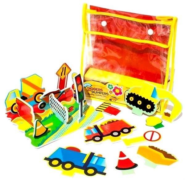 Sada penových hračiek do vane - Stavebné stroje - Hračka do vody