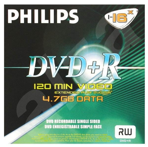 DVD+R médium PHILIPS 4.7GB, 16x speed, balení v krabičce -