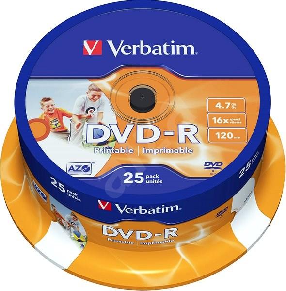 Verbatim DVD-R 16x, Printable 25 ks cakebox - Médium