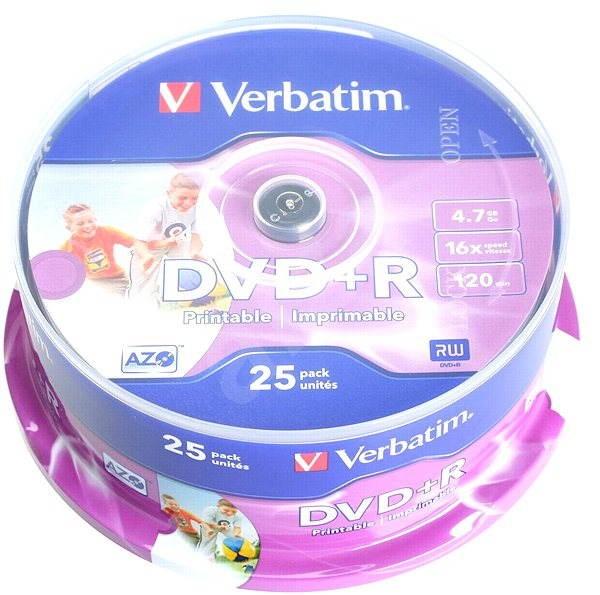 Verbatim DVD+R 16x Printable 25 ks cakebox - Médium