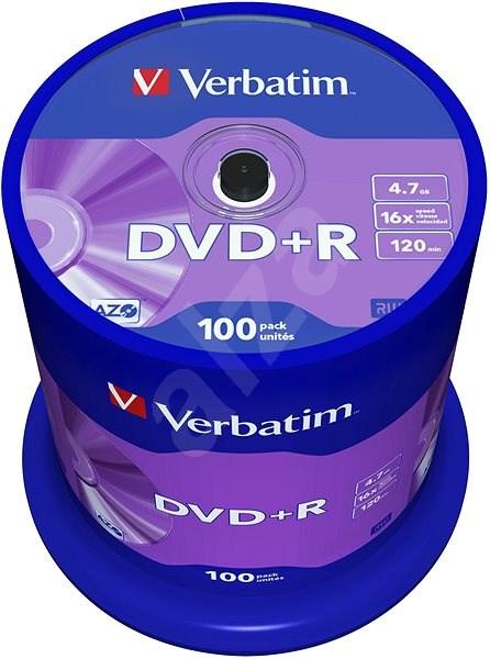 Verbatim DVD+R 16×, 100 ks CakeBox - Médium