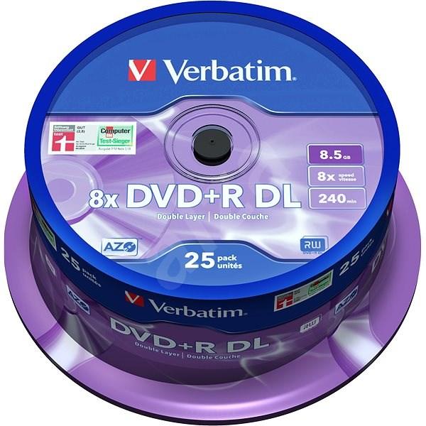 VERBATIM DVD+R 8,5 GB 8× DoubleLayer MATT SILVER spindl 25 pck/BAL - Médium