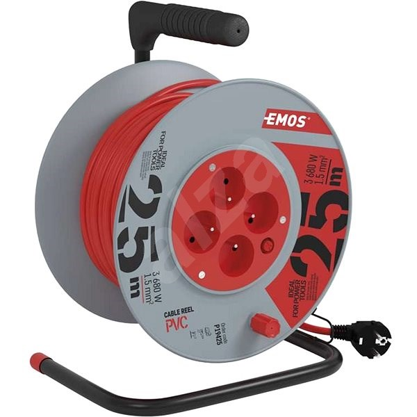 Emos Predlžovací kábel na bubne - 4 zásuvky 25 m - Napájací kábel