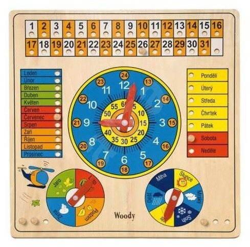 Woody kalendár s hodinami a barometrom - Didaktická hračka
