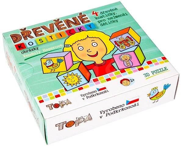 Topa drevené kocky kubus – Pre najmenšie deti 4 ks - Obrázkové kocky