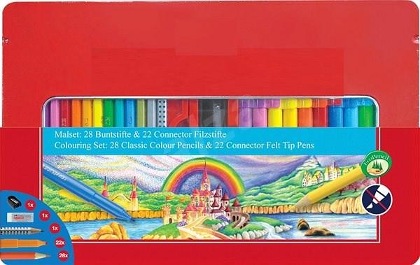 Faber-Castell popisovače Connector a pastelky, 50 ks - Sada