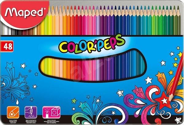 Maped Color Peps Metal Box, 48 farieb - Pastelky