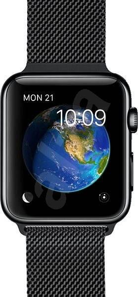 Apple Watch 42 mm Kozmicky čierna antikorová oceľ s čiernou milánskou slučkou - Smart hodinky