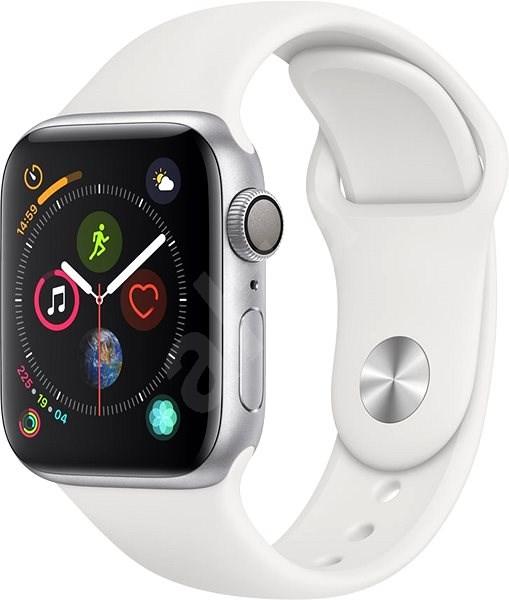Apple Watch Series 4 40mm Strieborný hliník s bielym športovým remienkom -  Smart hodinky 43f31505219
