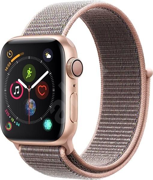 Apple Watch Series 4 40mm Zlatý hliník s pieskovo ružovým prevliekacím športovým remienkom - Smart hodinky