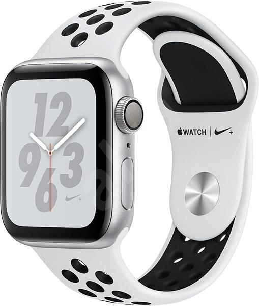 Apple Watch Series 4 Nike+ 40mm Strieborný hliník s platinovým/čiernym športovým remienkom Nike - Smart hodinky