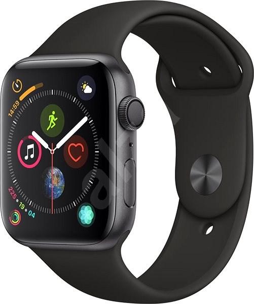 Apple Watch Series 4 44mm Vesmírne čierny hliník s čiernym športovým remienkom - Smart hodinky