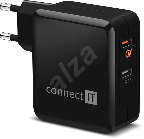 CONNECT IT InWallz QUALCOMM QUICK CHARGE 3.0 čierna - Nabíjačka