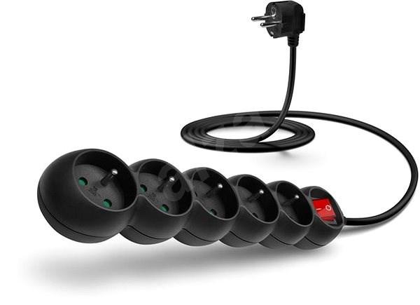 CONNECT IT predlžovací 230 V, 5 zásuviek + vypínač, 2 m, čierny - Napájací kábel
