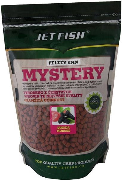 Jet Ryby Pelety Mystery Jahoda/Moruša 8 mm 1 kg - Pelety
