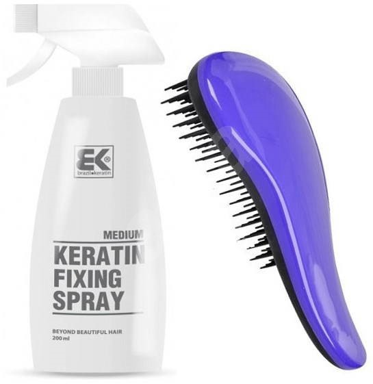 BRAZIL KERATIN Keratin Fixing Spray Medium 200 ml + Detangler Purple - Sada vlasovej  kozmetiky 1493d96cba8