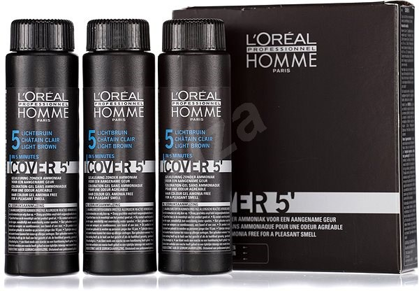 ĽORÉAL PROFESSIONNEL Homme COVER 5' 5 3× 50 ml (5 – svetlohnedá) - Farba na vlasy pre mužov