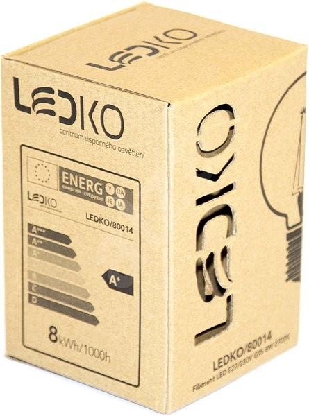 LEDKO FILAMENT G95 E27 8 W 2700 K - LED žiarovka