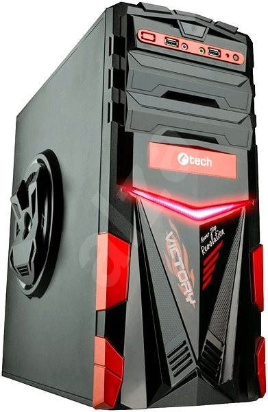 C-TECH ARES čierno-červená - Počítačová skriňa