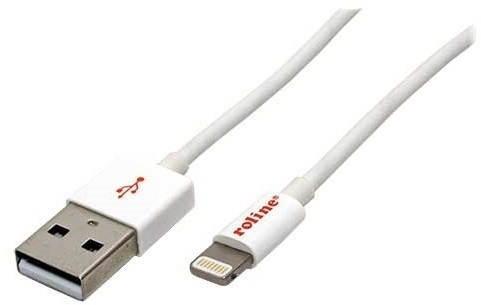 Roline USB kábel Lightning 1m biely - Dátový kábel