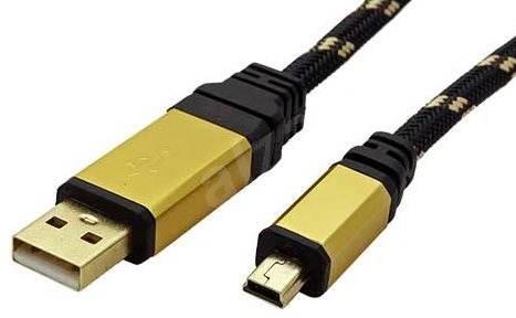 ROLINE Gold USB 2.0 USB A(M) -> mini USB 5pin B(M), 3 m - čierno-zlatý - Dátový kábel