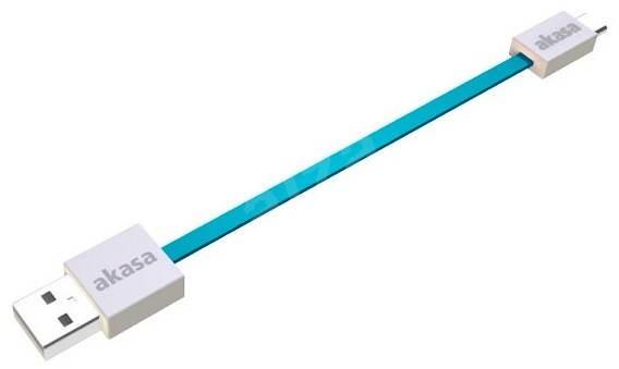 AKASA PROSLIM USB micro, 15 cm, modrý - Dátový kábel