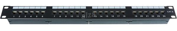 Datacom, 24x RJ45, priamy, CAT6, UTP, čierny, 1U - Patch panel